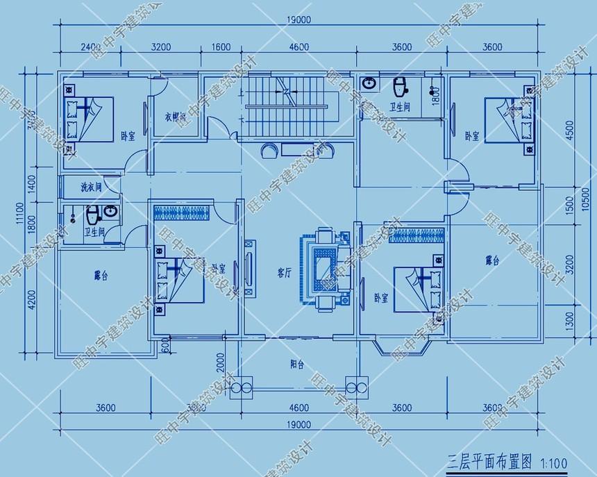 農村別墅三層平面圖
