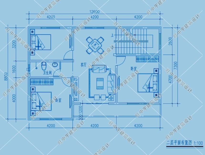 三层平顶小进深农村别墅设计二层平面图