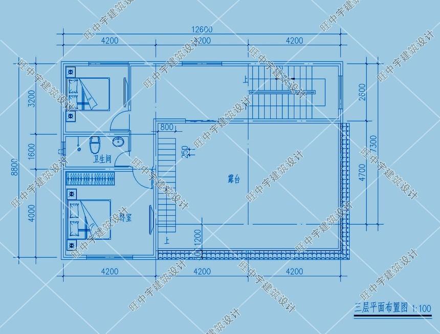 三层平顶小进深农村别墅设计三层平面图