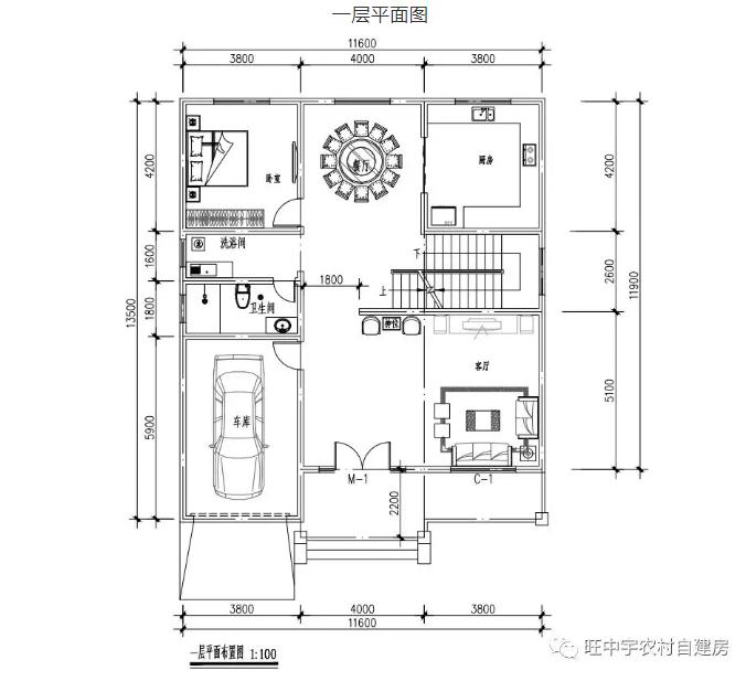 新农村别墅一层平面图