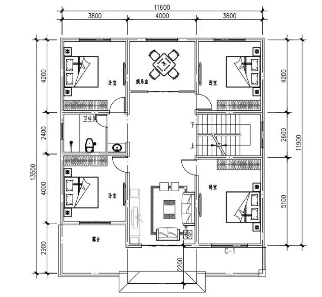 新农村别墅二层平面图