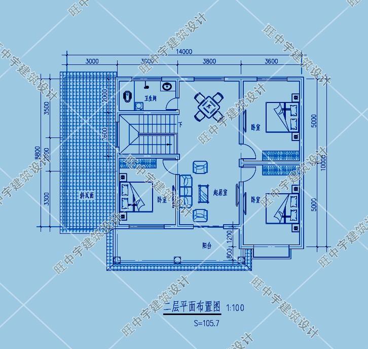 农村别墅自建房设计二层平面图