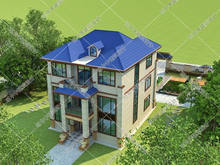 農村別墅三層設計圖紙設計鳥瞰圖