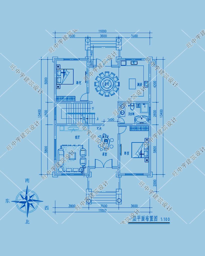 农村别墅三层设计图纸设计一层平面图