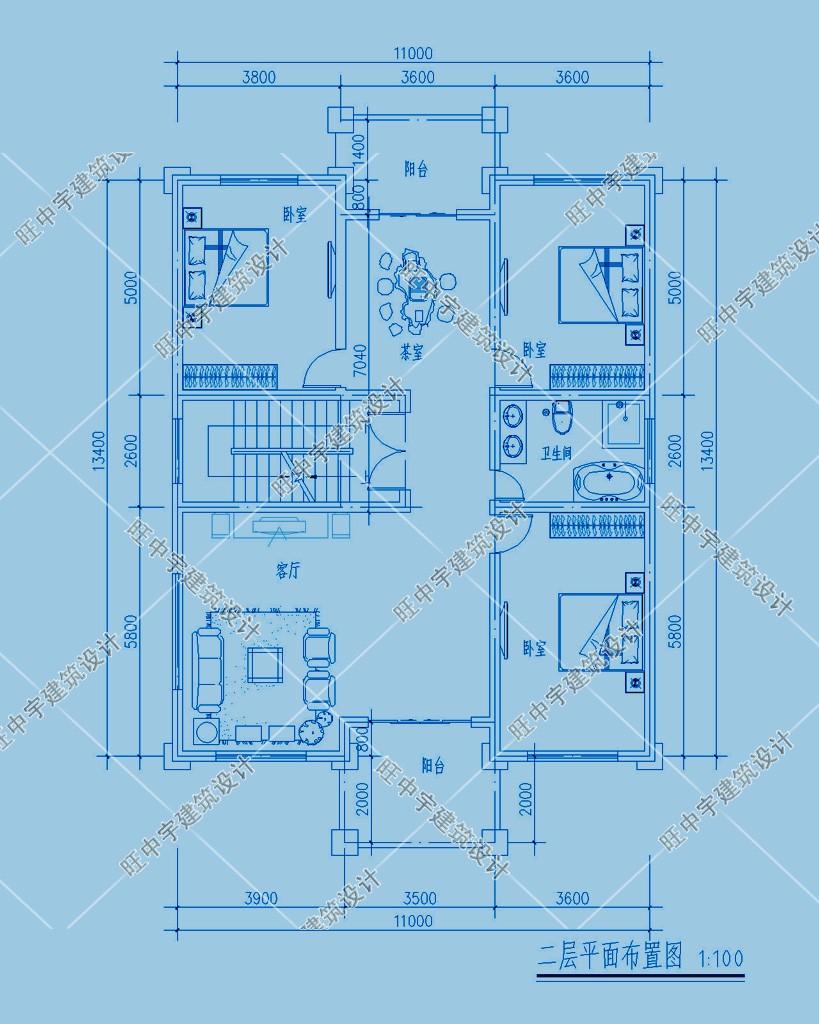 农村别墅三层设计图纸设计二层平面图