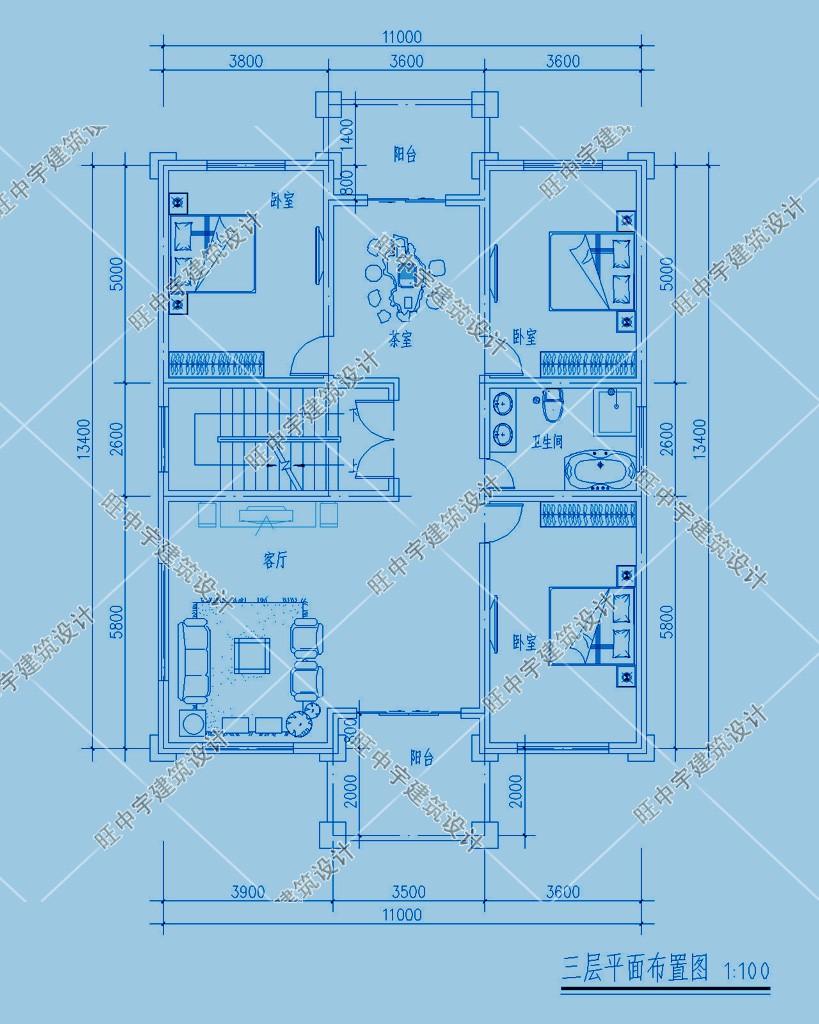 农村别墅三层设计图纸设计三层平面图