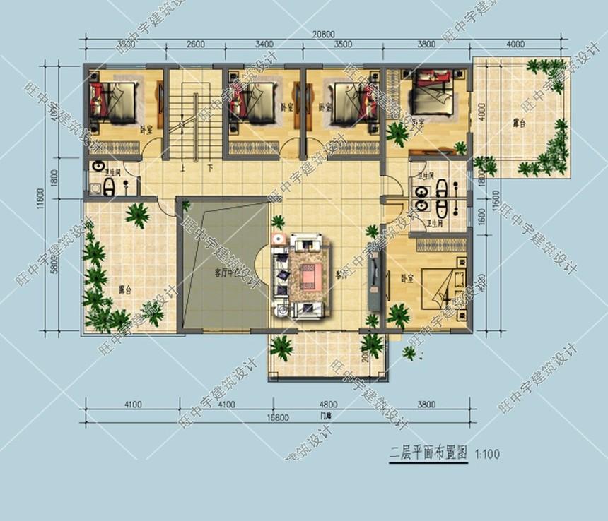 新农村别墅自建房二层平面图