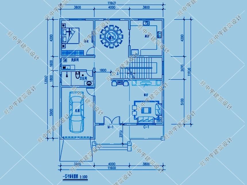 农村两层农家小楼房设计图一层平面图
