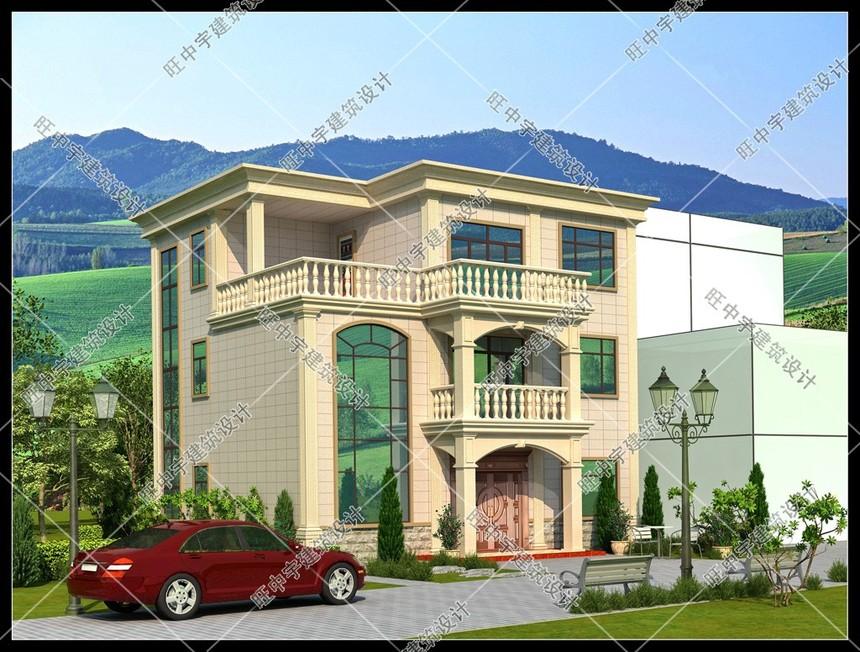 三層平頂小戶型,大客廳農村別墅設計效果圖