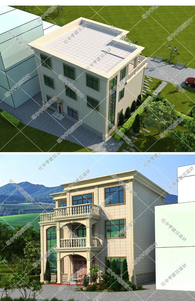 三层平顶小户型,大客厅农村别墅设计效果图鸟瞰图