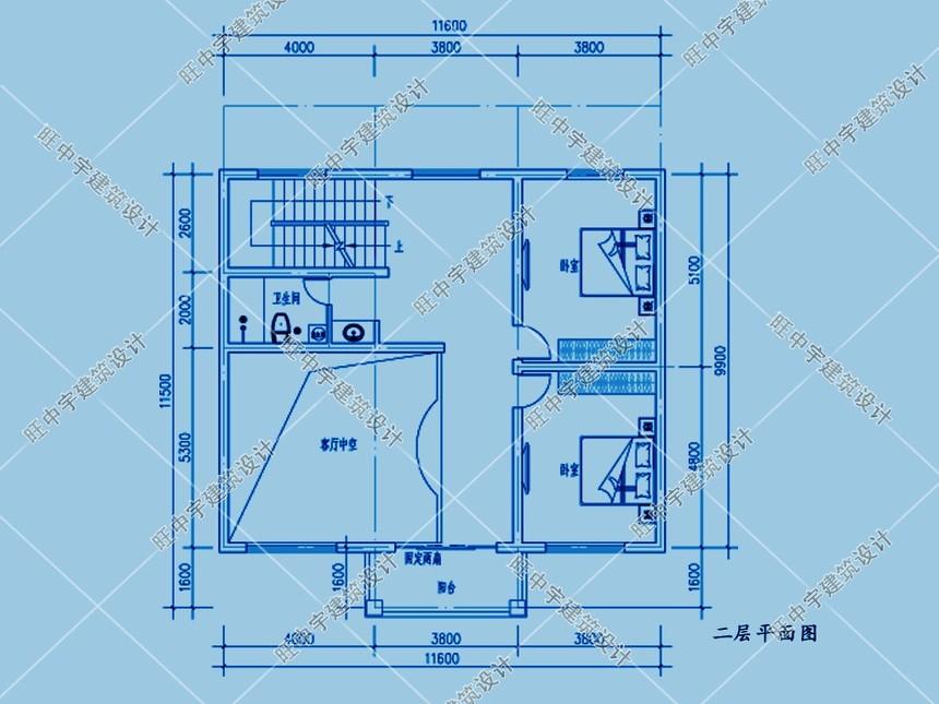 三层平顶小户型,大客厅农村别墅设计二层平面图