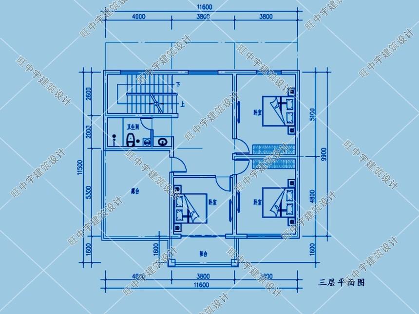 三層平頂小戶型,大客廳農村別墅設計三層平面圖