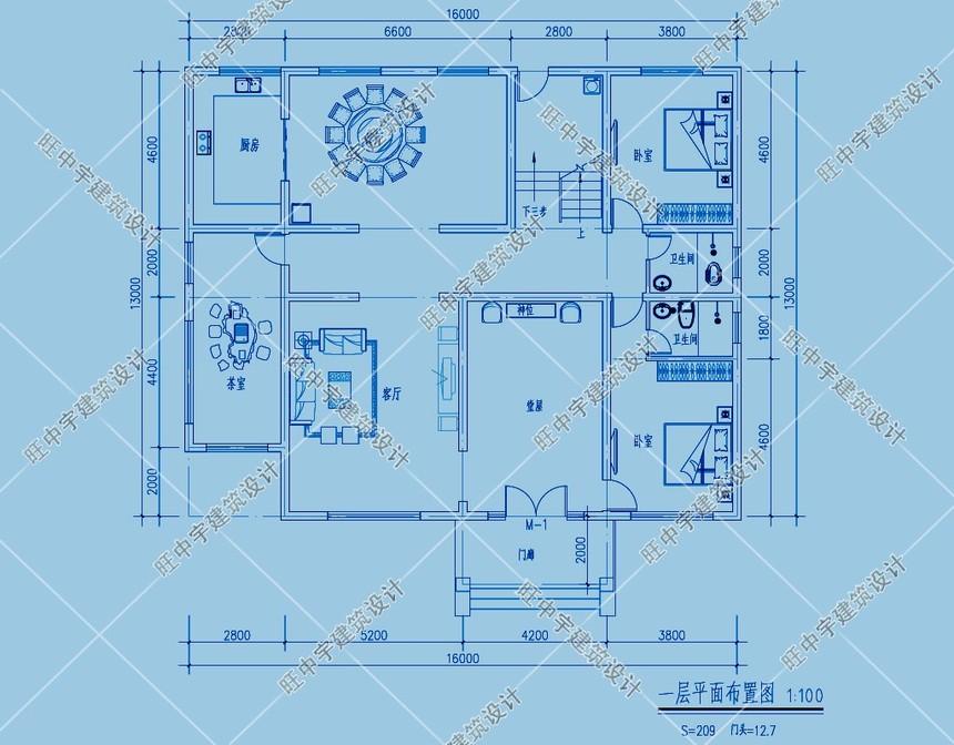 经典三层农村别墅自建房一层平面图