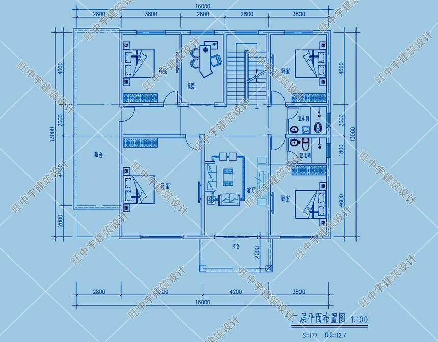 经典三层农村别墅自建房二层平面图