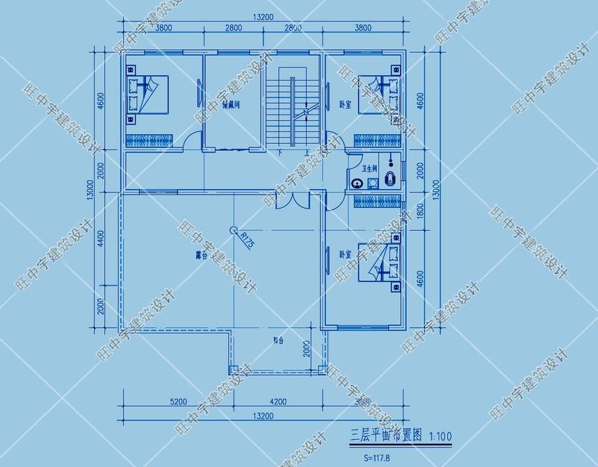 经典三层农村别墅自建房三层平面图