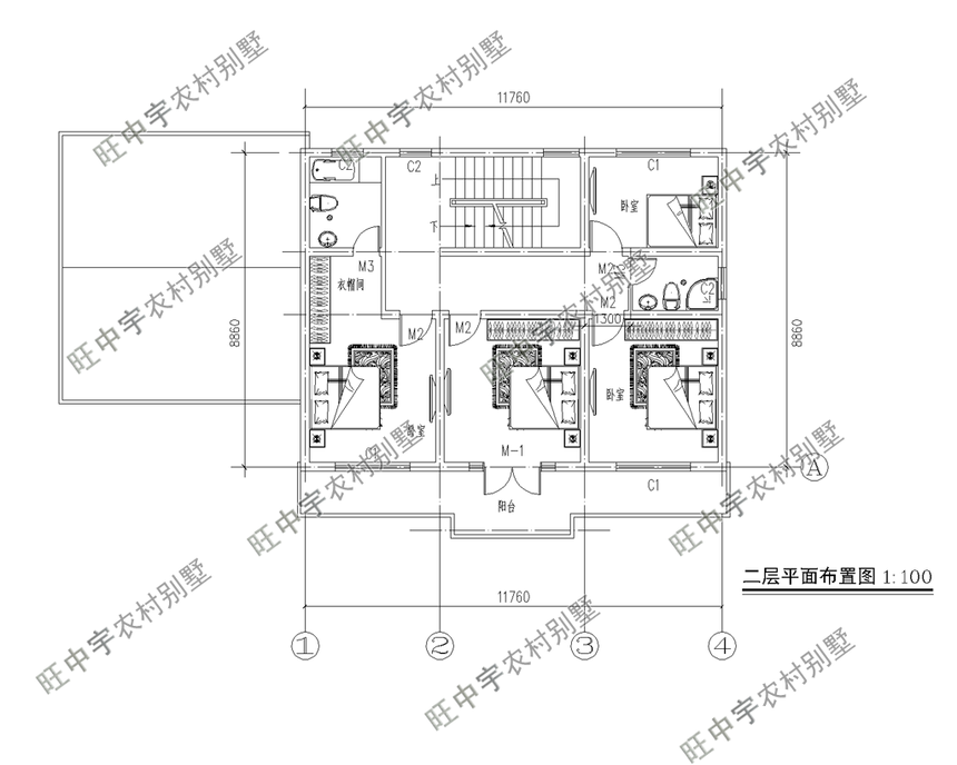農村別墅二層平面圖