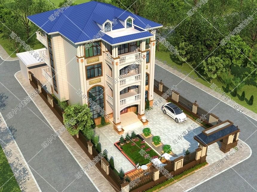4层农村别墅自建房外观鸟瞰图