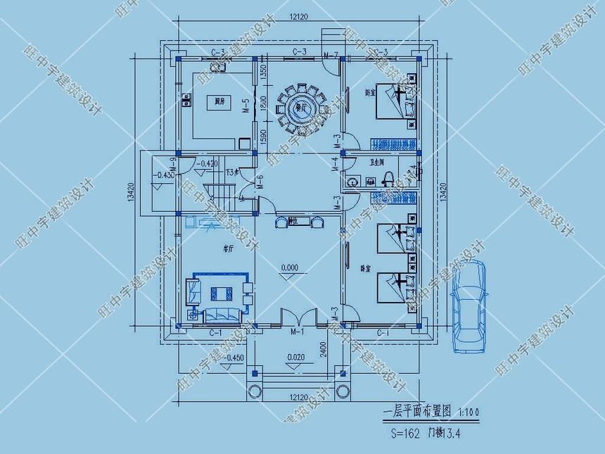 4层农村别墅自建房一层平面图