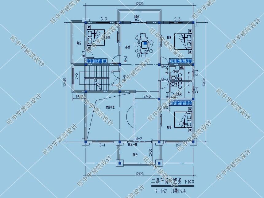 4层农村别墅自建房二层平面图