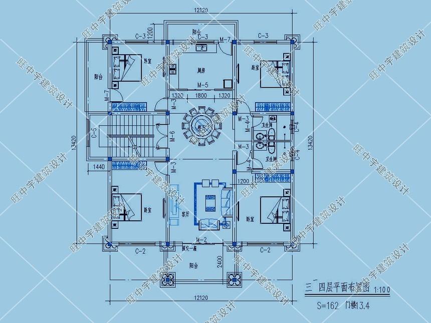 4层农村别墅自建房3-4层平面图