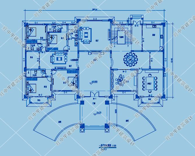 三層歐式豪華農村別墅自建房一層平面圖