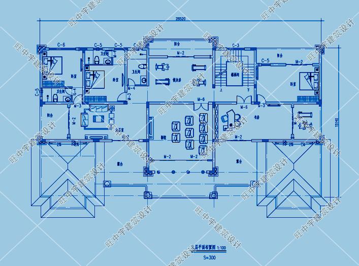三層歐式豪華農村別墅自建房三層平面圖