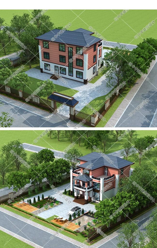 農村別墅三層設計效果圖鳥瞰圖