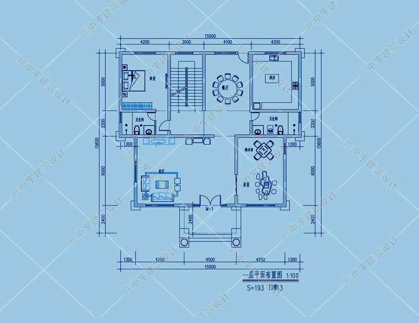 農村別墅三層設計圖紙設計一層平面圖