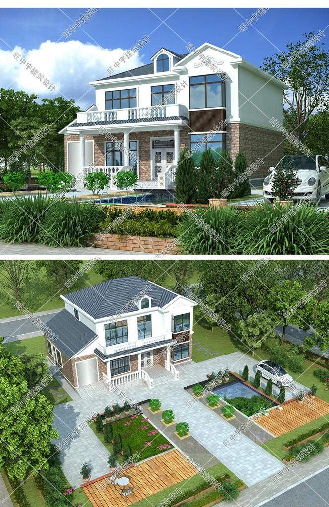 二層農村別墅設計效果圖 鳥瞰圖
