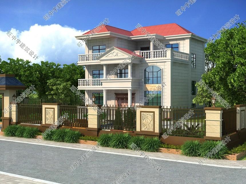 12.3X14米三层农村别墅自建房设计图