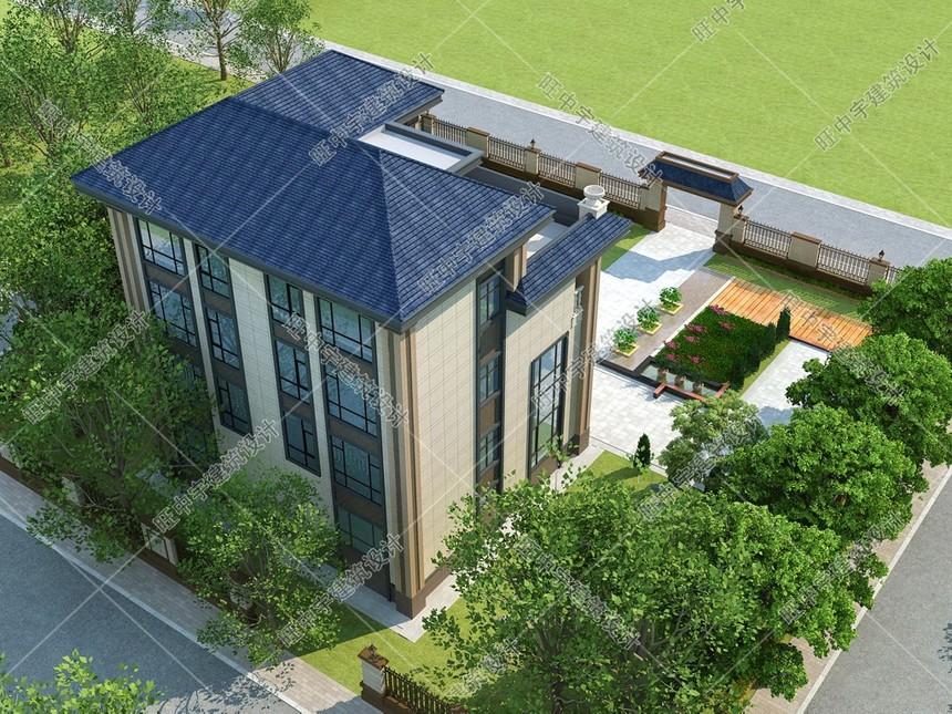 新款農村別墅自建房外形效果圖后視圖