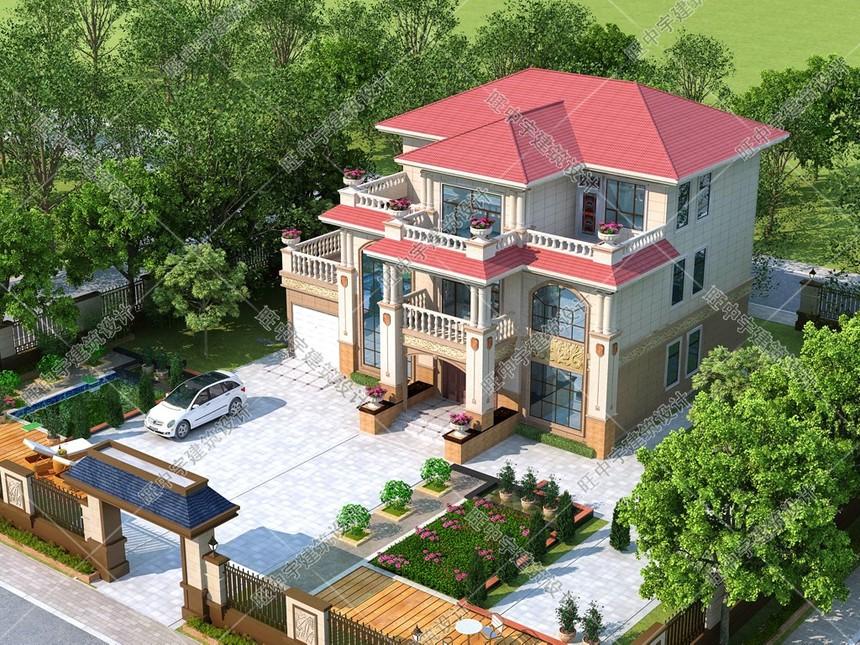 三層歐式農村自建別墅效果鳥瞰圖2