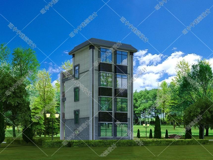 四層農村別墅新中式自建效果圖后視圖