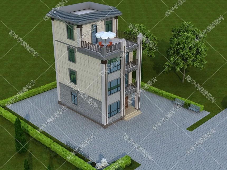四層農村別墅新中式自建效果圖鳥瞰圖