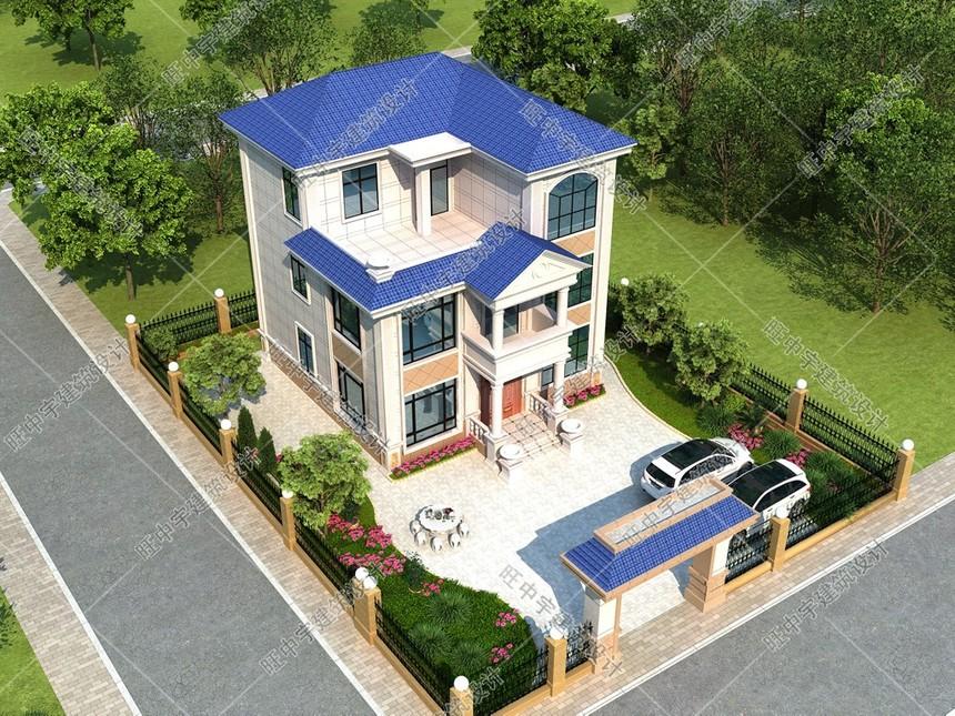 10X10.2米現代簡歐新農村別墅效果圖5