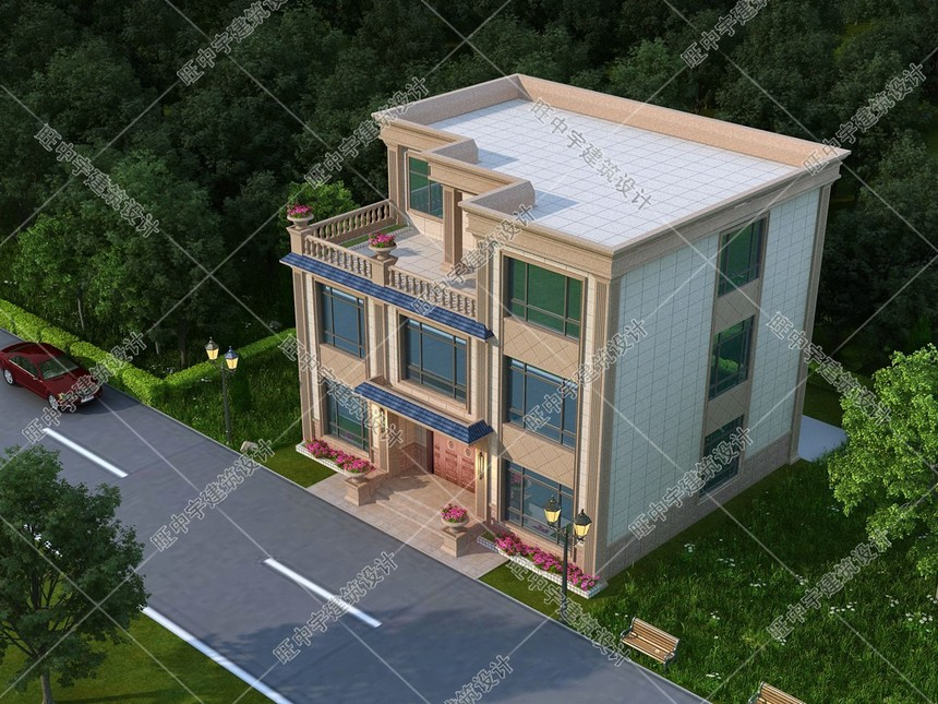 面寬13米進深11米三層平頂農村自建別墅設計