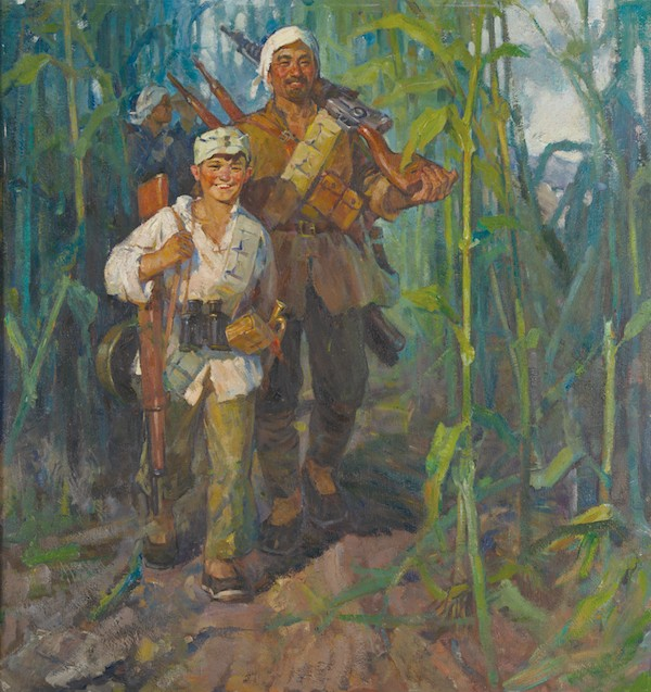 在战斗中成长 138×130cm 1964年 秦大虎  张定钊 收藏于中国美术馆.jpg