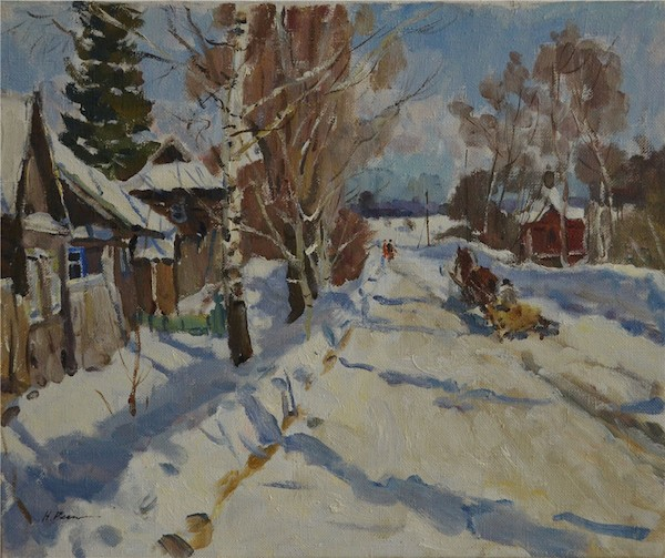 列宾•尼古拉尼基托维奇《雪景》油彩画布50.5x60cm 1994.jpg