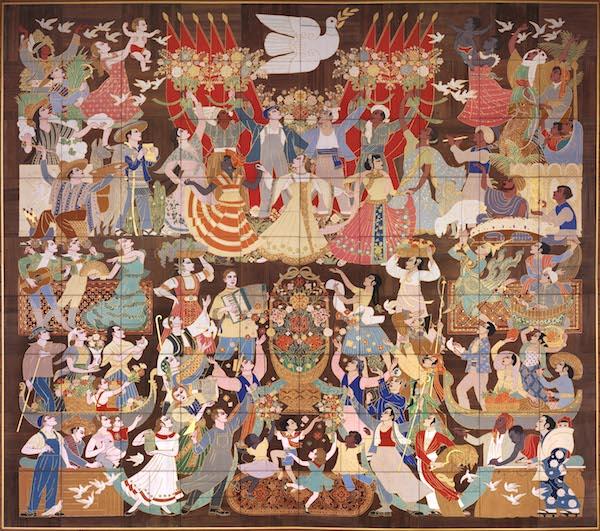 1959年《世界人民大团结》楠木立粉勾金重彩壁画设计900×1000cm(中国国家博物馆藏).jpg