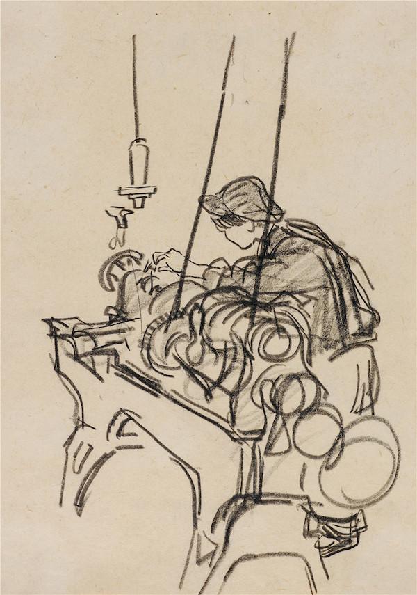 11-叶浅予 新工人 纸本、炭笔 25cm×17.5cm 1960年 2012年入藏.jpg