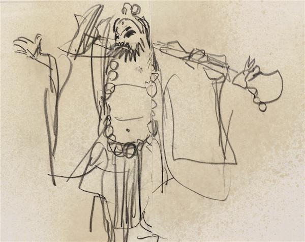 13叶浅予 《野猪林》—演员袁世海 纸本、铅笔 20cm×16cm 约20世纪60年代 2012年入藏.jpg