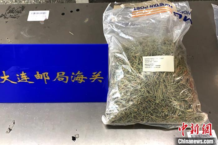 大连邮局海关截获的麻黄草。 曹扬 摄