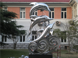 镜面海豚不锈钢雕塑