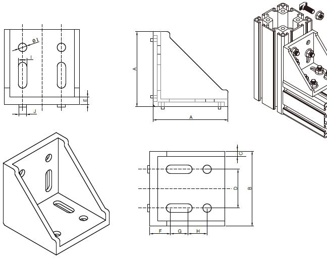 沈阳工业铝型材角码图纸