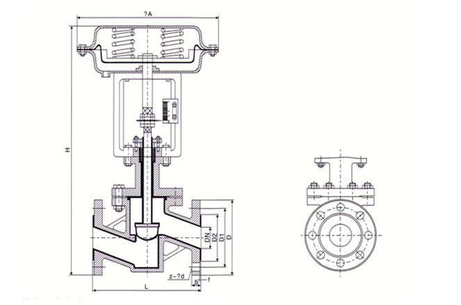 气动衬氟调节阀主要连接尺寸