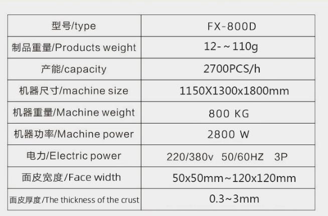 FX-800D全自动单联烧卖机机器参数