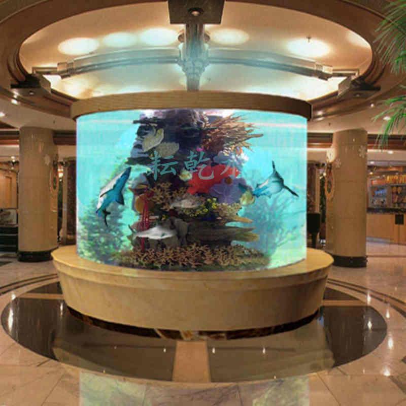 圆柱形鱼缸,亚克力圆柱鱼缸定制就找上海耘乾水族