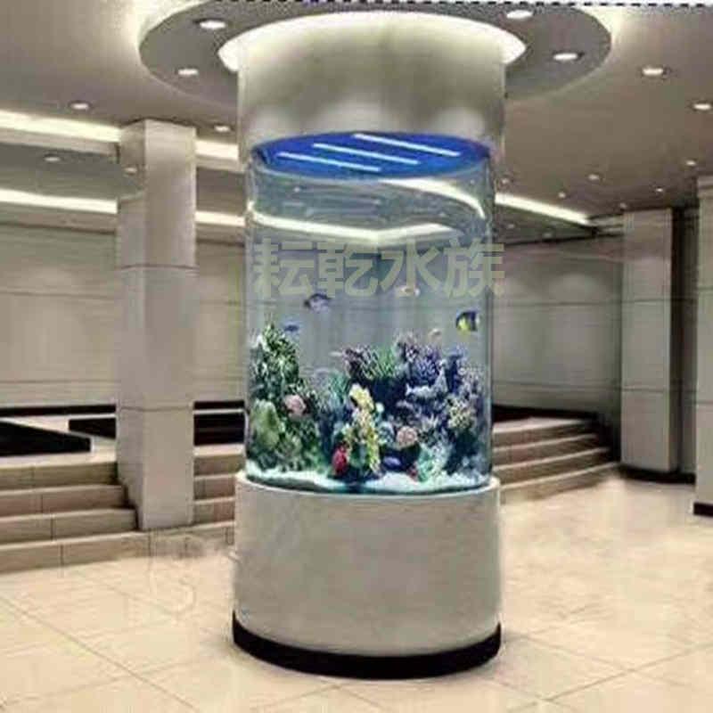 大型亚克力圆柱鱼缸定制厂家就找上海耘乾水族咨询13162356777