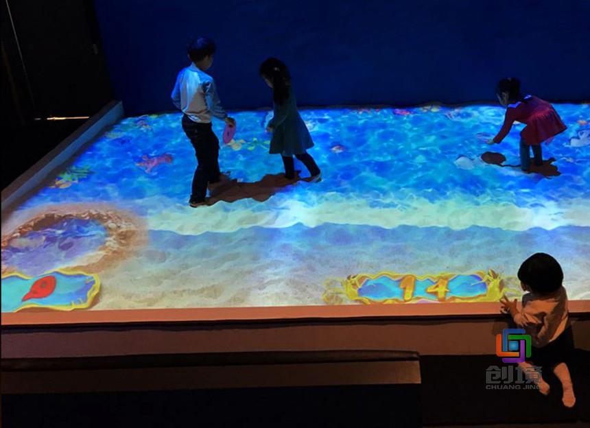 儿童互动投影游戏《虚拟海滩》