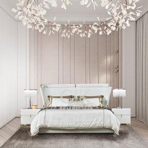 臥室1.8米大床雙人床婚床簡約床頭柜意式輕奢極簡家具CK901